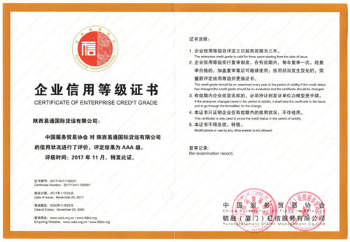 AAA企业诚信等级证书